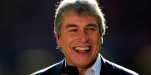 CARDIFF, WALES - MARCH 10: TV presenter John Inverdale shares a joke before the RBS Six Nations match between Wales and Italy at the Millennium stadium on March 10, 2012 in Cardiff, Wales. (Photo by Stu Forster/Getty Images)